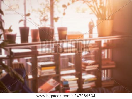Vintage Bookshelf With Flowers. Evening Time. Room For Rest. Blurred Background