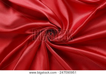 Luxurious Red Satin Fabric, Abstract Swirls And Folds