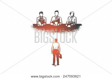 Job, Interview, Recruitment, Employee, Hr Concept. Hand Drawn Candidate On Job Interview In Company