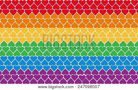 Lgbt Pride Vector Flag. Rainbow Symbol Of Gay Parade. Multicolored Flag. Gay Parade Slogan. Lgbt Rig