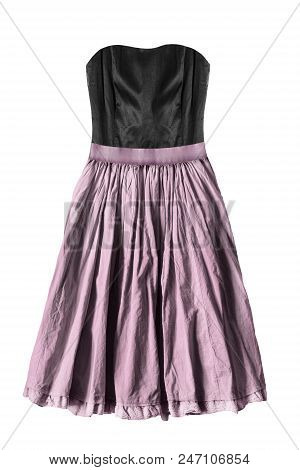Strapless dress with black silk corset and pink flared skirt on white background poster
