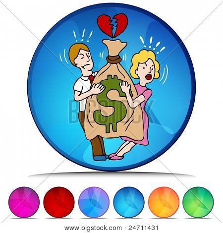 An image of a couple fighting over money mosaic crystal button set.