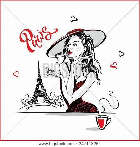 The Girl In The Hat Drinking Coffee.  Fashion Model In Paris. Eiffel Tower. Romantic Composition. El