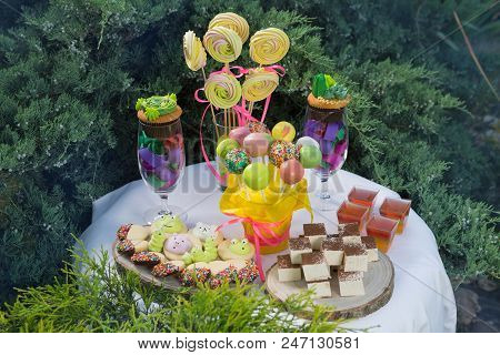 candy bar for birthday, a large assortment of sweets, muffins, candy, poppy cake and other sweets on the dessert table poster