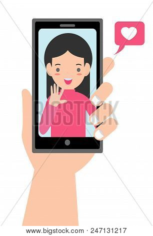 Video Call With Loved One. Male Hand Holding Smartphone With Grilfriend On Screen. Online Dating, Lo