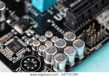 Used Pc Motherboard Macro View. Suitable For Computer, Repair And Pc Build Themes.