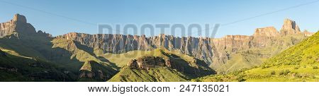 A View Of The Amphitheatre In The Kwazulu-natal Drakensberg. The Sentinel Is On The Far Right. The T