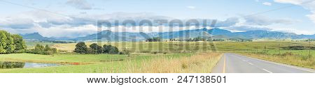 Panoramic Landscape On The P317-road To Garden Castle In The Drakensberg Near Underberg In The Kwazu