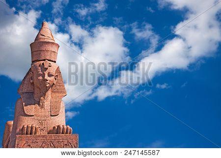 Egyptian Sphinx on blue sky background