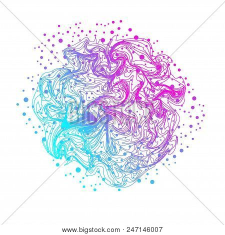Abstract Ultraviolet Background With Waves And Circles. Stock Vector Illustration Of Colorful Lines