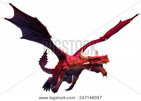 Red Dragon Flying In To Attack 3d Illustration