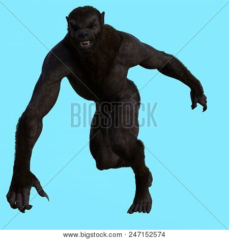 3D Render of Werewolf Male on Isolated Background poster