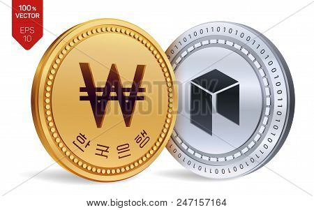 Neo. Won. 3d Isometric Physical Coins. Digital Currency. Korea Won Coin. Cryptocurrency. Golden And