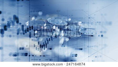 Double Exposure Image Of Stock Market Investment Graph And Coins Stack,concept Of Business Investmen