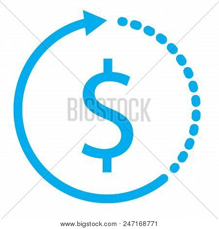 Clock With Dollar Icon On White Background. Flat Style. Clock With Dollar For Your Web Site Design,