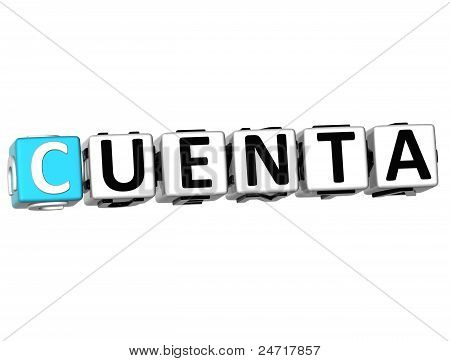3D Cuenta Block Text On White Background