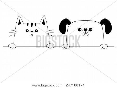 Cat dog happy face head icon. Contour silhouette. Hands paw holding line. Cute cartoon pooch kitten character. Kawaii animal. Funny baby puppy kitty. Love card. Flat design. White background. Vector poster