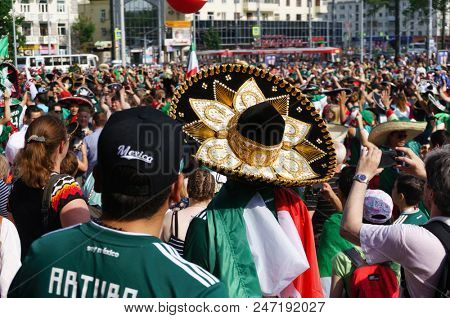 YEKATERINBURG, RUSSIA - June 27, 2018: FIFA World Cup 2018, Mexican football fans on the streets of Yekaterinburg