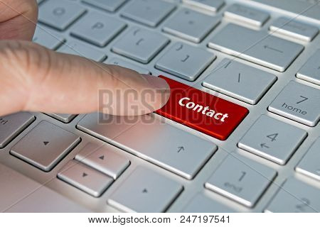 Big Red Contact Us Keyboard Button. Contact Inscriptions On The Keyboard Button, Red Button.