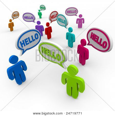 Many people of different colors representing various cultures speaking and greeting each other saying hello in speech clouds or bubbles