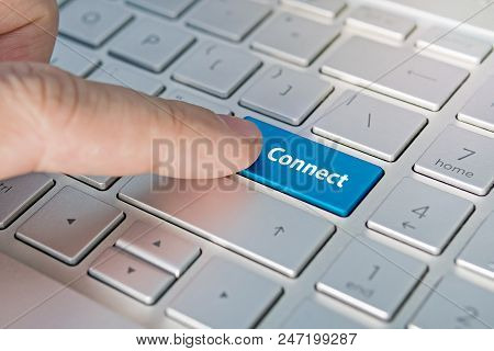Business Concept Shows As Well As The Fingers That Press Submit On The Keyboard Laptop. Connect Insc
