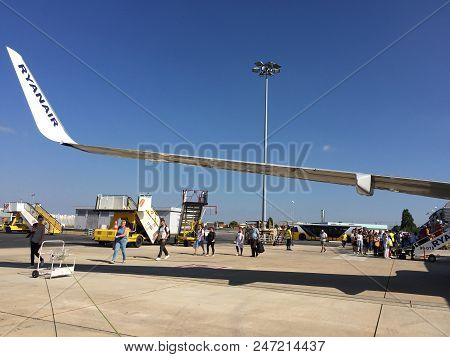 June 25th, 2018, Lisbon, Portugal - People Entering A Ryanair Flight At Terminal 2 Of The Humberto D