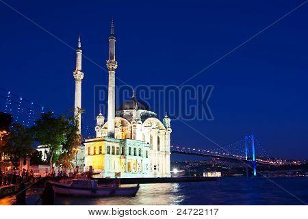 Ortakoy Mosque on night