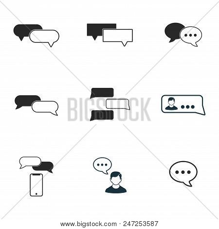 Chat Icon Set. Line Style Icon Design. Ui. Illustrations Of Chat Icons. Pictogram Isolated Set On Wh