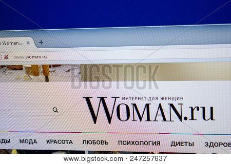 Ryazan, Russia - June 26, 2018: Homepage Of Woman Website On The Display Of Pc. Url - Woman.ru