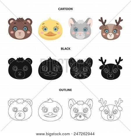 Bear, Duck, Mouse, Deer. Animal Muzzle Set Collection Icons In Cartoon, Black, Outline Style Vector