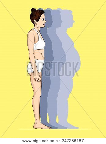 Vector Colorful Illustration Of Young Slim Woman Standing In Profile. Silhouette Of A Girl With Tran