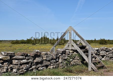 Stone Wall With A Wooden Stile In The Unique Landscape, Great Alvar Plain, At The Swedish Island Ola