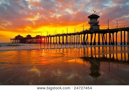 Sunset over Surf City Huntington Beach Pier poster