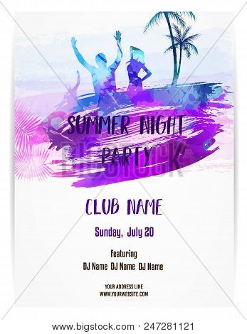 Party Poster Template For Summer Party. Summer Night Party. Purple And Blue Colored With Watercolor