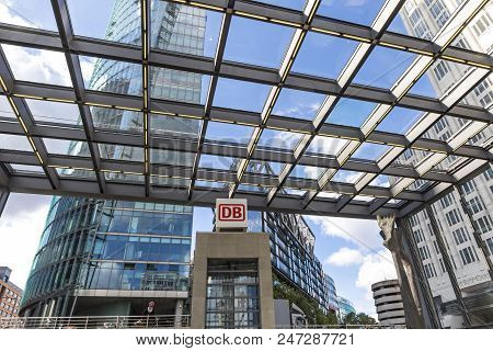 Berlin, Germany - September 22, 2017: Entrance To Potsdamerplatz Railway Station (bahnhof) On Potsda