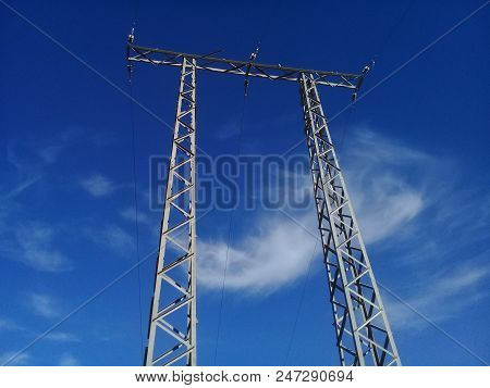 Electric Power Transmission High Voltage Power Line.electric Power Can Also Be Transmitted By Underg