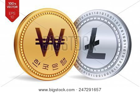 Litecoin. Won. 3d Isometric Physical Coins. Digital Currency. Korea Won Coin. Cryptocurrency. Golden