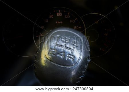Manual Transmission Gear Shift With Speedmeter Car Dashboard
