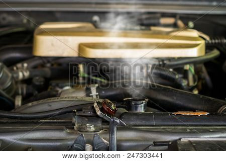 Hot Steam Coming Out Of Radiator, Car Engine Over Heat.