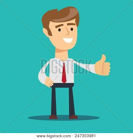 Business Man Give Thumb Up Sign. Stock Flat Vector Illustration.