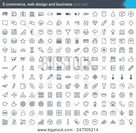 Business, E-commerce, Web And Shopping Icons Set - Simple And Thin Icon In Modern Style Isolated On