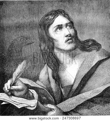 Saint John, by Caravaggio, vintage engraved illustration. Magasin Pittoresque 1841.