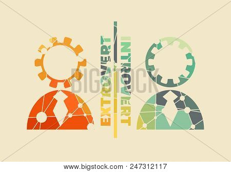 Extrovert Vs Introvert Illustration. Image Relative To Human Psychology. Silhouettes Textured By Lin