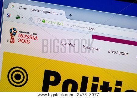 Ryazan, Russia - June 26, 2018: Homepage Of Tv2 Website On The Display Of Pc. Url - Tv2.no