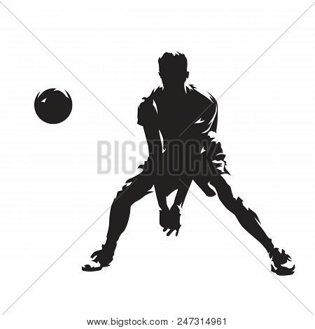 Volleyball Player Returning Ball, Abstract Isolated Vector Silhouette. Ink Drawing. Team Sport. Beac