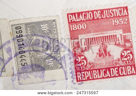 Antique Cuban Stamps With Postmarks. Vintage Historic Philately. Postal. Hobby