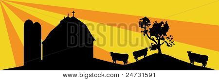 Silhouette of the countryside, colored background