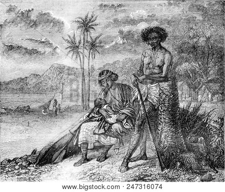 Tahitian family, vintage engraved illustration. Magasin Pittoresque 1841.