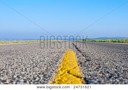 Two Lane Highway Stripe Rural New Mexico Usa
