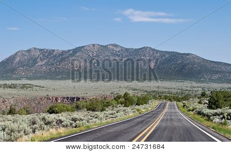 Two Lane Road Flat Desert Mountains New Mexico